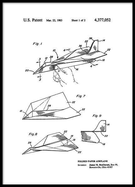Paper Airplane Patent Poster in der Gruppe Poster / Vintage bei Desenio AB (2347)