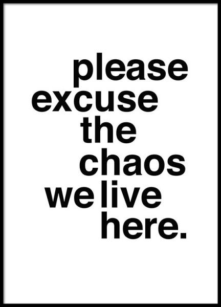 Please Excuse The Chaos Poster in der Gruppe Poster / Typografie Poster bei Desenio AB (2479)