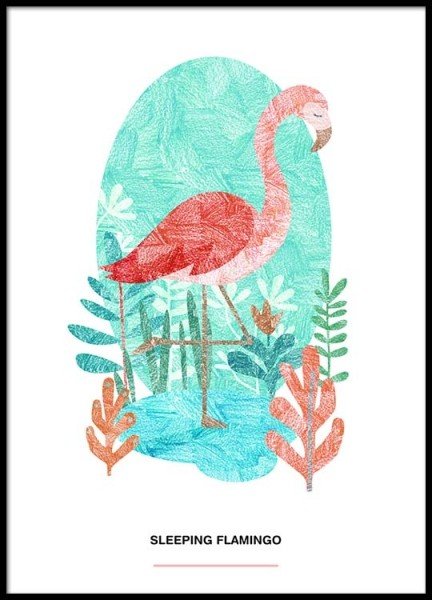 Sleeping Flamingo Poster in der Gruppe Poster / Illustration bei Desenio AB (2526)