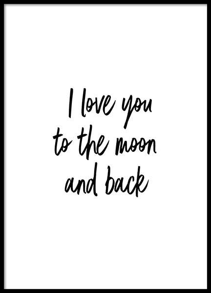 To The Moon And Back Poster in der Gruppe Poster / Typografie Poster bei Desenio AB (2604)