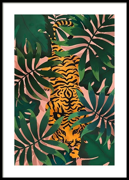 Tiger In Jungle Poster in der Gruppe Poster / Tiere bei Desenio AB (3147)