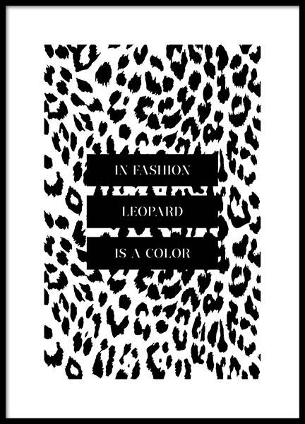 In Fashion Leopard Is A Color Poster in der Gruppe Poster / Poster mit Sprüchen bei Desenio AB (3180)