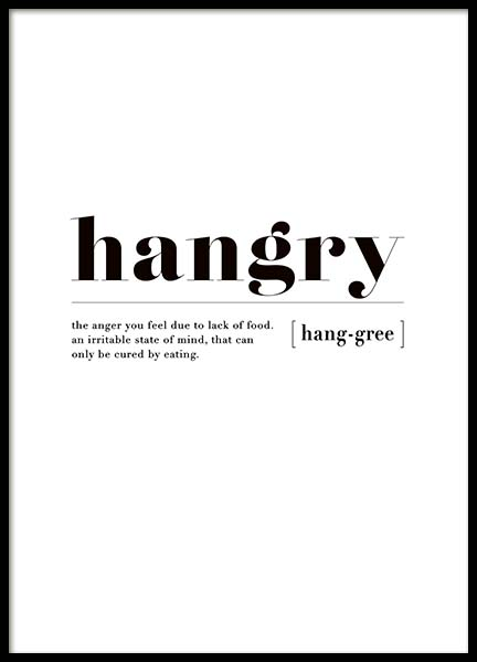 Hangry Poster in der Gruppe Poster / Typografie Poster bei Desenio AB (3347)