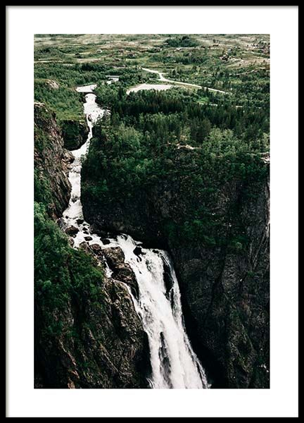 Mountain Waterfall Poster in der Gruppe Poster / Naturmotive bei Desenio AB (3572)