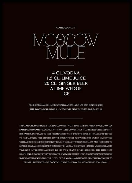 Classic Moscow Mule Poster in der Gruppe Poster / Typografie Poster bei Desenio AB (3626)
