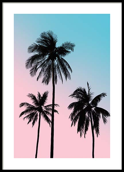 Pink Palm Sky Poster