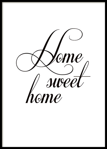 poster home sweet home typografie poster 21x30 cm. Black Bedroom Furniture Sets. Home Design Ideas