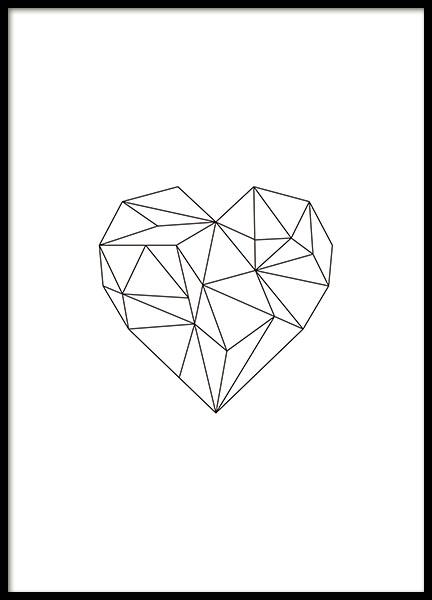sch nes poster herz mit geometrischen formen poster online. Black Bedroom Furniture Sets. Home Design Ideas