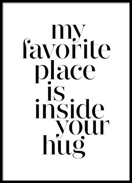 typografie poster mit dem zitat hugs poster f r rahmen. Black Bedroom Furniture Sets. Home Design Ideas