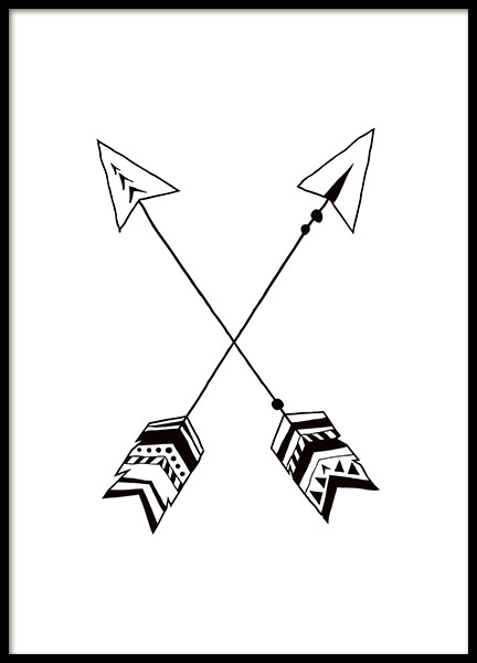 Black and White Arrows Poster in der Gruppe Poster / Kinder bei Desenio AB (7870)