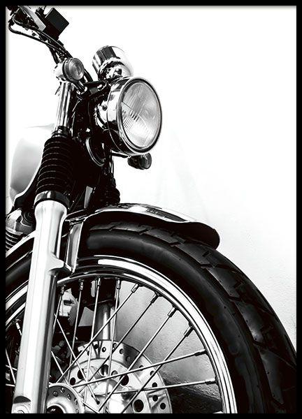stilvolles plakat mit motorrad schwarz wei foto. Black Bedroom Furniture Sets. Home Design Ideas