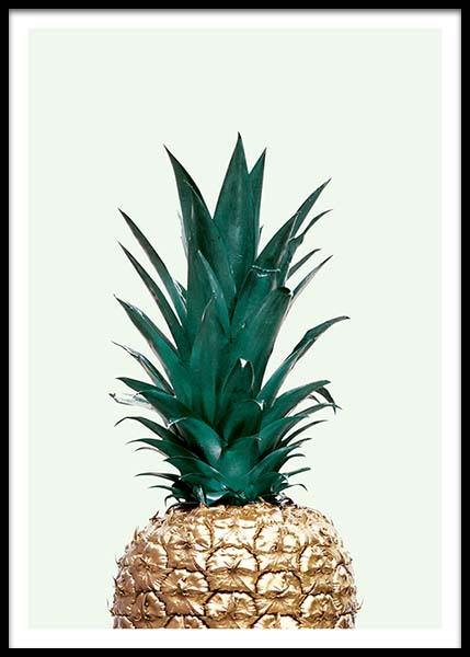 poster mit goldfarbener ananas farbenfrohe poster online. Black Bedroom Furniture Sets. Home Design Ideas