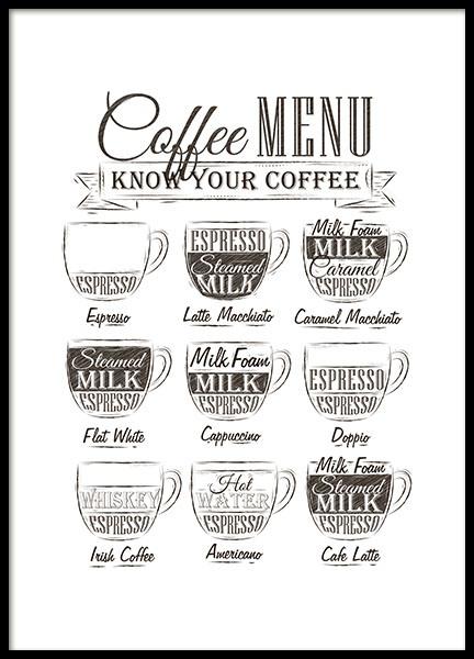 Coffee Menu, Poster