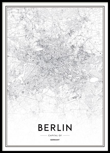 schwarz wei poster mit stadtplan von berlin plakate mit karten und st dten. Black Bedroom Furniture Sets. Home Design Ideas