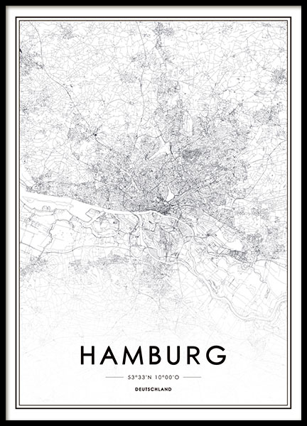 poster mit stadtplan von hamburg moderne trendige poster online. Black Bedroom Furniture Sets. Home Design Ideas