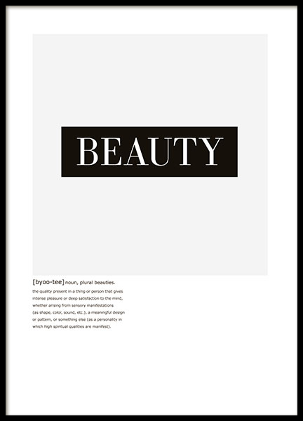 Beauty Text, Poster in der Gruppe Poster / Typografie Poster bei Desenio AB (8413)