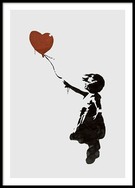 Girl With Love Balloon Grey, Poster in der Gruppe Poster / Kinder bei Desenio AB (8446)