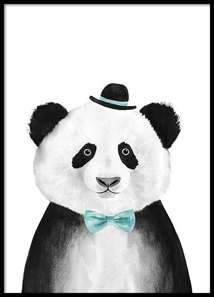 Panda With Blue Hat Print in der Gruppe Poster / Tiere bei Desenio AB (8709)