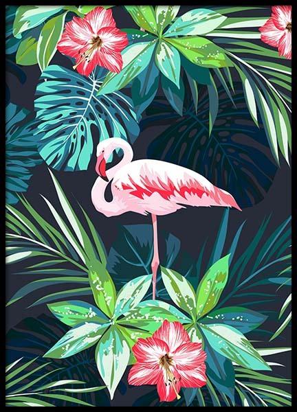 Flamingo In Paradise Poster