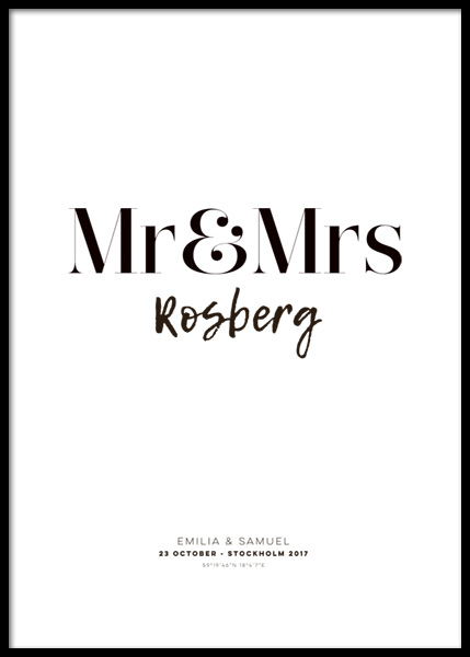 Mr and Mrs Personal Poster in der Gruppe Poster / Personalisierte Poster bei Desenio AB (pp0011)