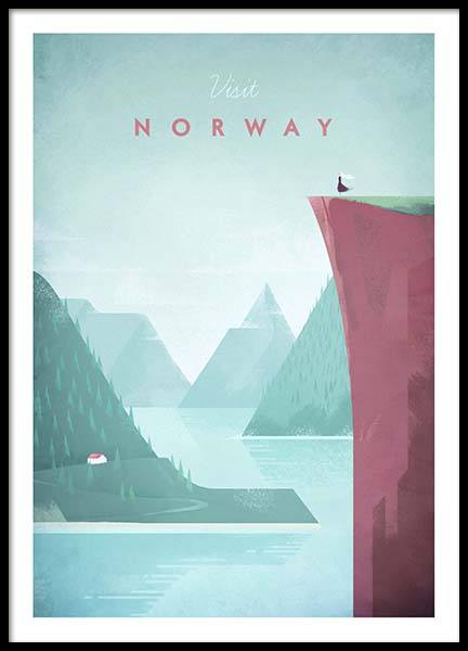 Norway Travel Poster in der Gruppe Poster / Handpicked / Henry Rivers bei Desenio AB (pre0012)