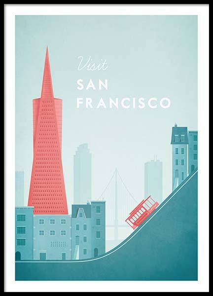 San Francisco Travel Poster in der Gruppe Poster / Handpicked / Henry Rivers bei Desenio AB (pre0014)