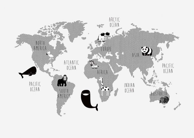 Kids World Map Poster