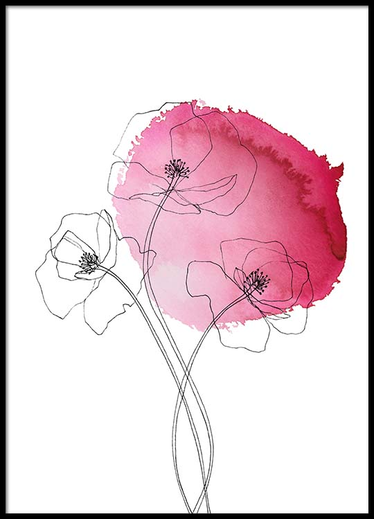 Pink Poppy Flower No1 Poster