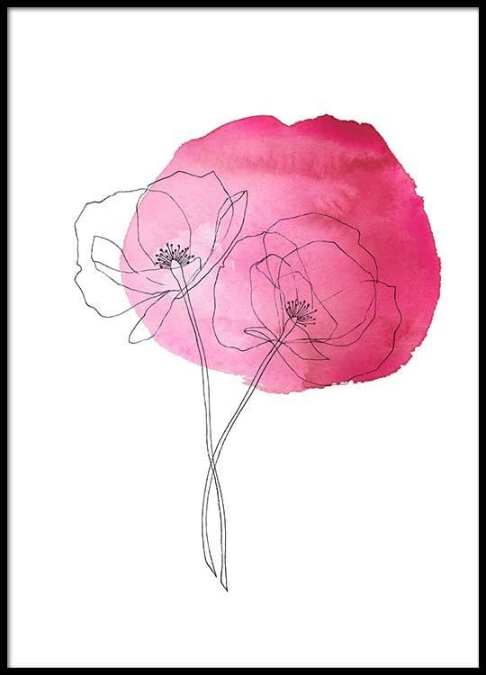 Pink Poppy Flower No2 Poster