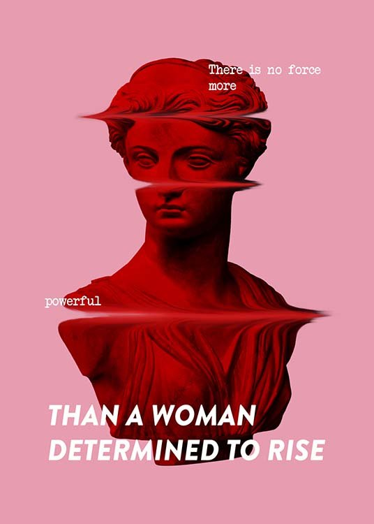 - Pinke Typografie mit dem Zitat ''There is no force more powerful than a woman determined to rise'' mit Frauenstatue im Hintergrund.