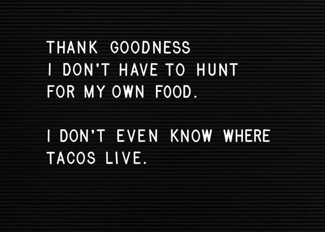 - Küchenposter mit dem Spruch ''Thank goodness I don't have to hunt for my own food. I don't even know where tacos live.''