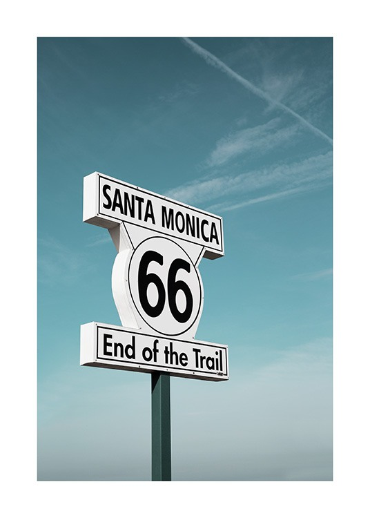 Route 66 Sign Poster / 50x70 cm bei Desenio AB (10778)