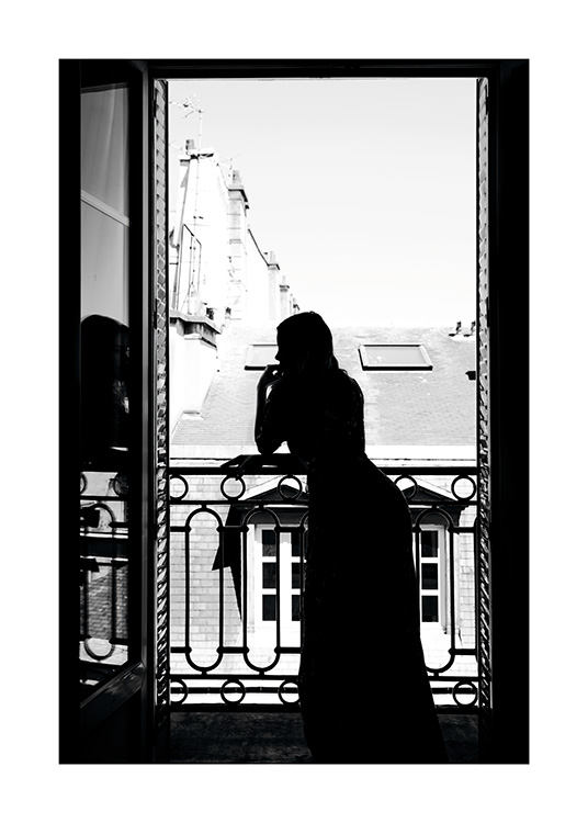 Woman in window poster for Fenster 60x80
