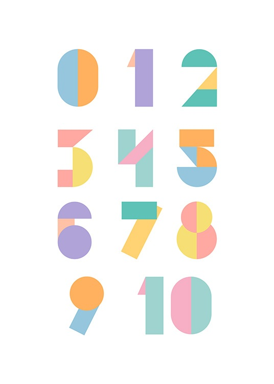 Geometric Numbers Poster / Kinder bei Desenio AB (12116)