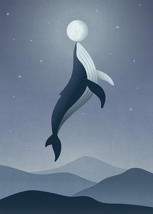 Whale Moon Poster / Kinder bei Desenio AB (12471)