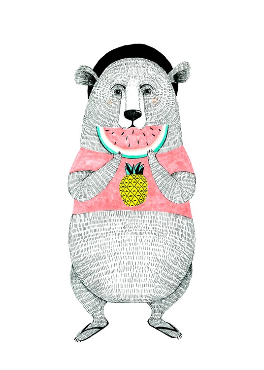 Bear with Melon Poster / Kinder bei Desenio AB (12473)