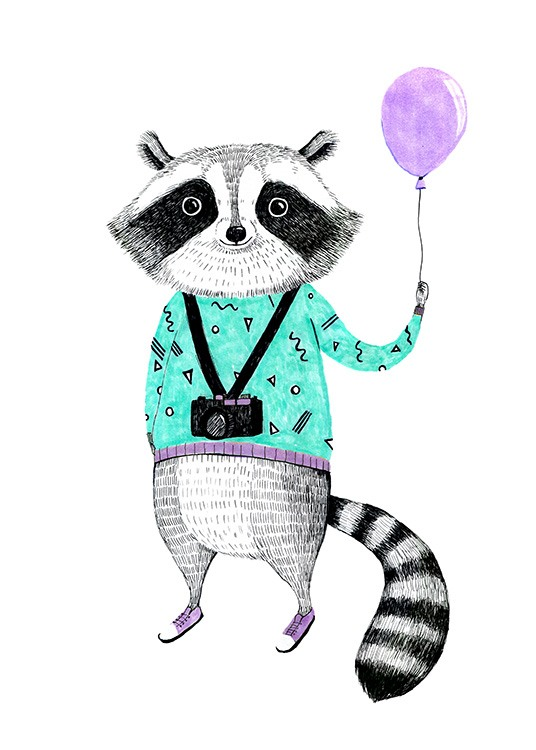 Raccoon with Balloon Poster / Kinder bei Desenio AB (12474)
