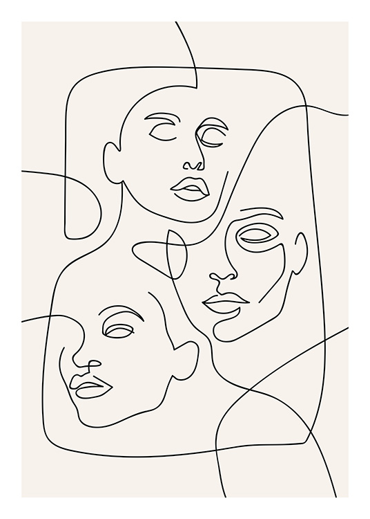 The Three Faces Line Art Poster / Illustration bei Desenio AB (12506)