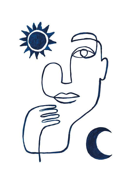 Abstract Face in Blue Poster / Minimalismus bei Desenio AB (13664)
