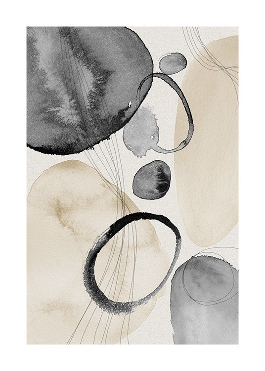 Watercolor Circles No1 Poster / Abstrakte Kunst bei Desenio AB (13847)