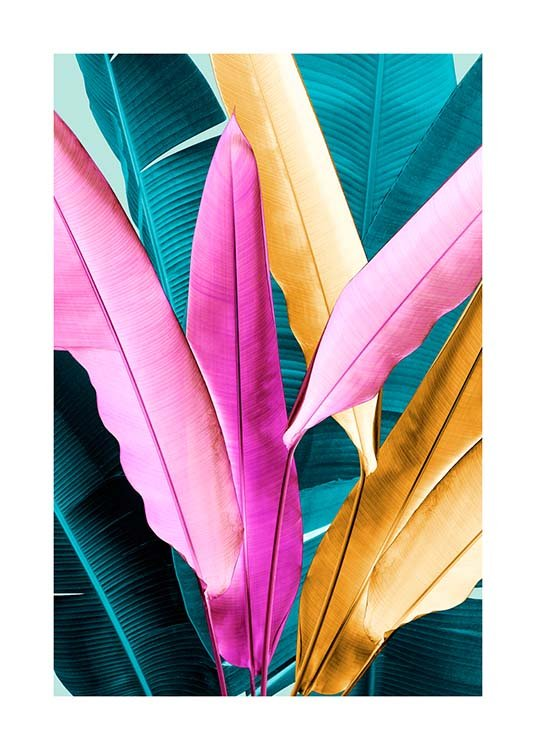 Neon Leaves Two Poster / Botanik bei Desenio AB (3768)