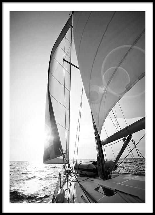 Segelboot zeichnung schwarz  Poster mit Fotografie von einem Segelboot