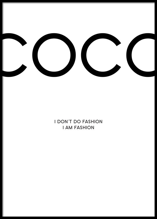 coco chanel poster poster mit fashion zitaten plakate. Black Bedroom Furniture Sets. Home Design Ideas