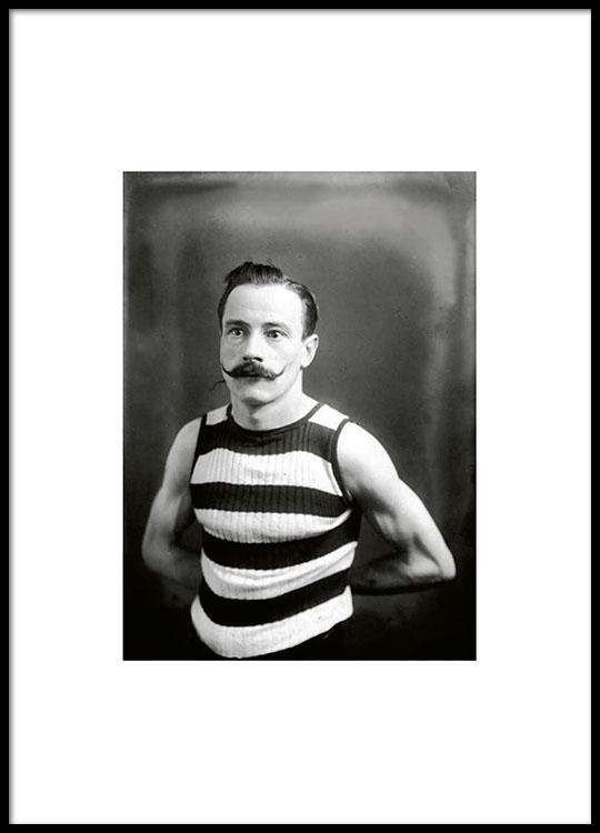 boxer mit mustache poster mit schwarz wei fotografie. Black Bedroom Furniture Sets. Home Design Ideas