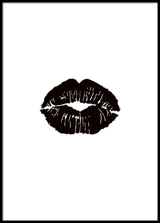 poster mit schwarzen lippen sch ne poster online schwarz wei plakat. Black Bedroom Furniture Sets. Home Design Ideas
