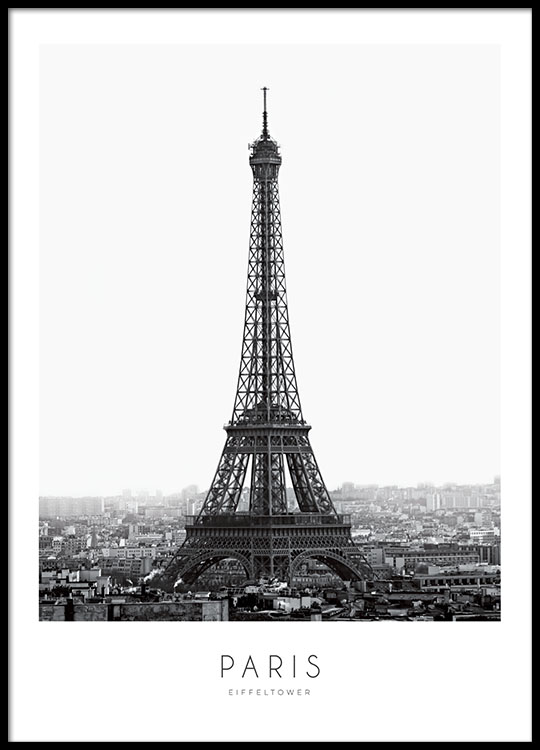 schwarz wei poster mit eiffelturm paris poster poster. Black Bedroom Furniture Sets. Home Design Ideas