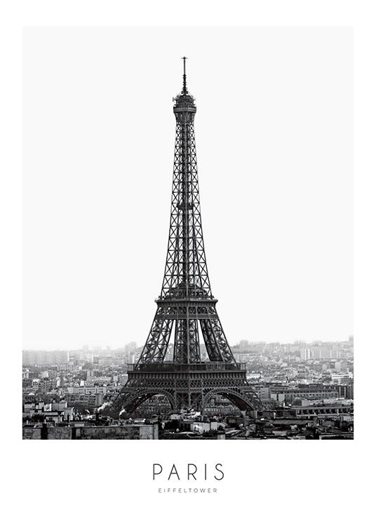 schwarz wei poster mit eiffelturm paris poster poster. Black Bedroom Furniture Sets. Home Design Ideas
