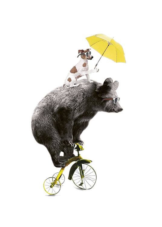 Bear On Yellow Bike, Poster / Kinder bei Desenio AB (7830)
