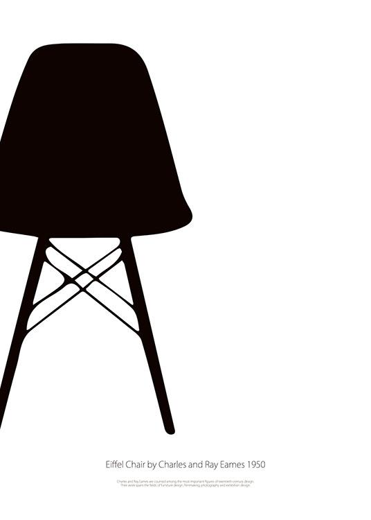Schwarz wei poster eames eiffel chair graphic art poster for Design stuhl eiffel
