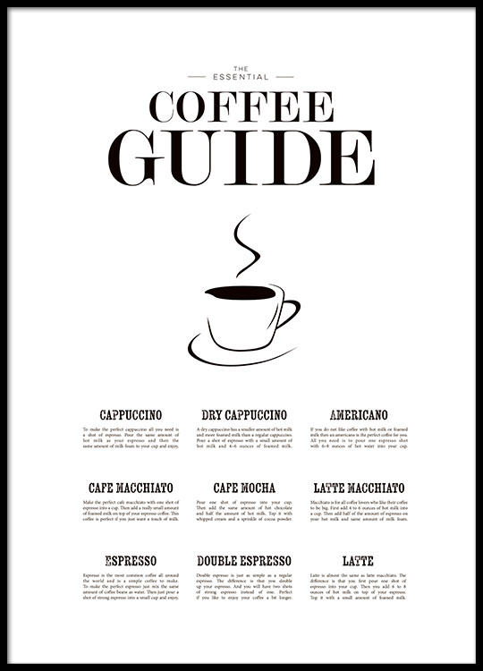 k chenposter zum thema kaffee coffee guide poster f r die k che poster online. Black Bedroom Furniture Sets. Home Design Ideas